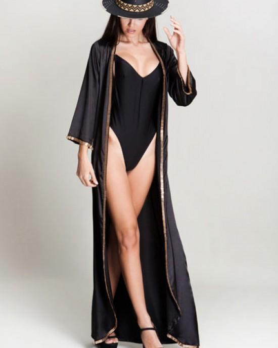 Kathy Black Satin Kimono